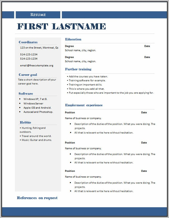 Copy Of A Cv Layout