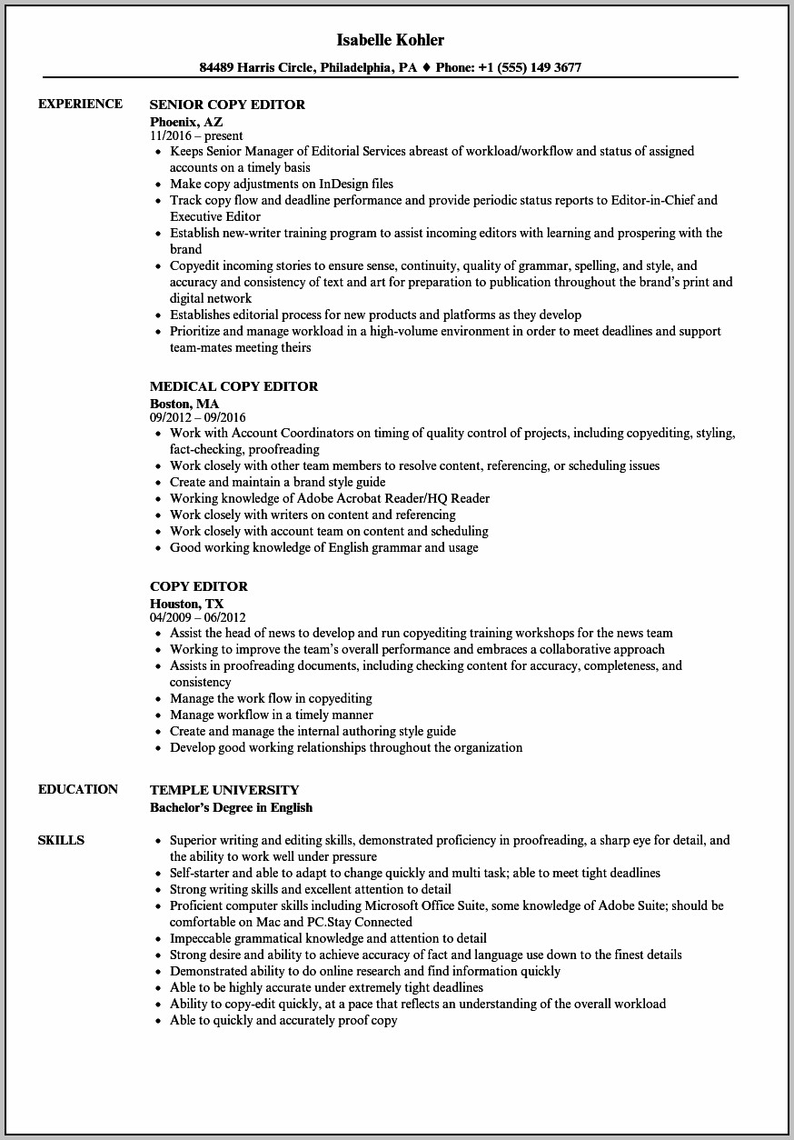 Copy Of Resume For Job