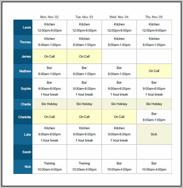 Daily Shift Schedule Template