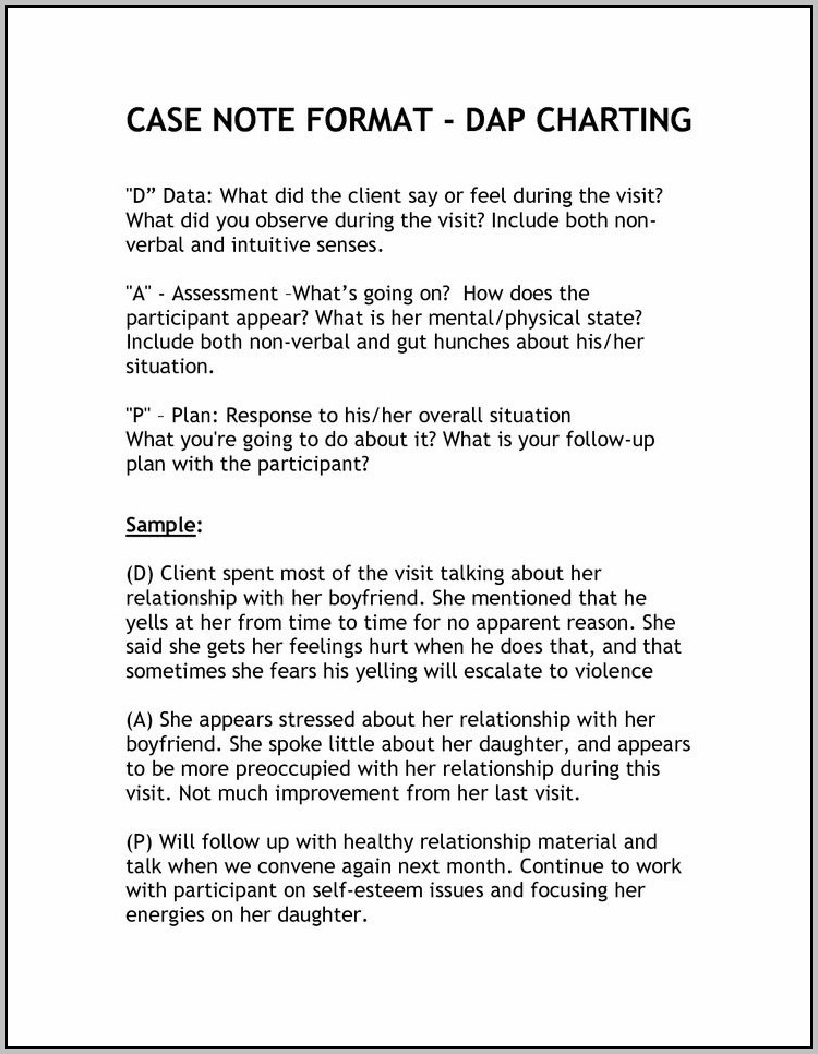 Dap Case Notes Examples