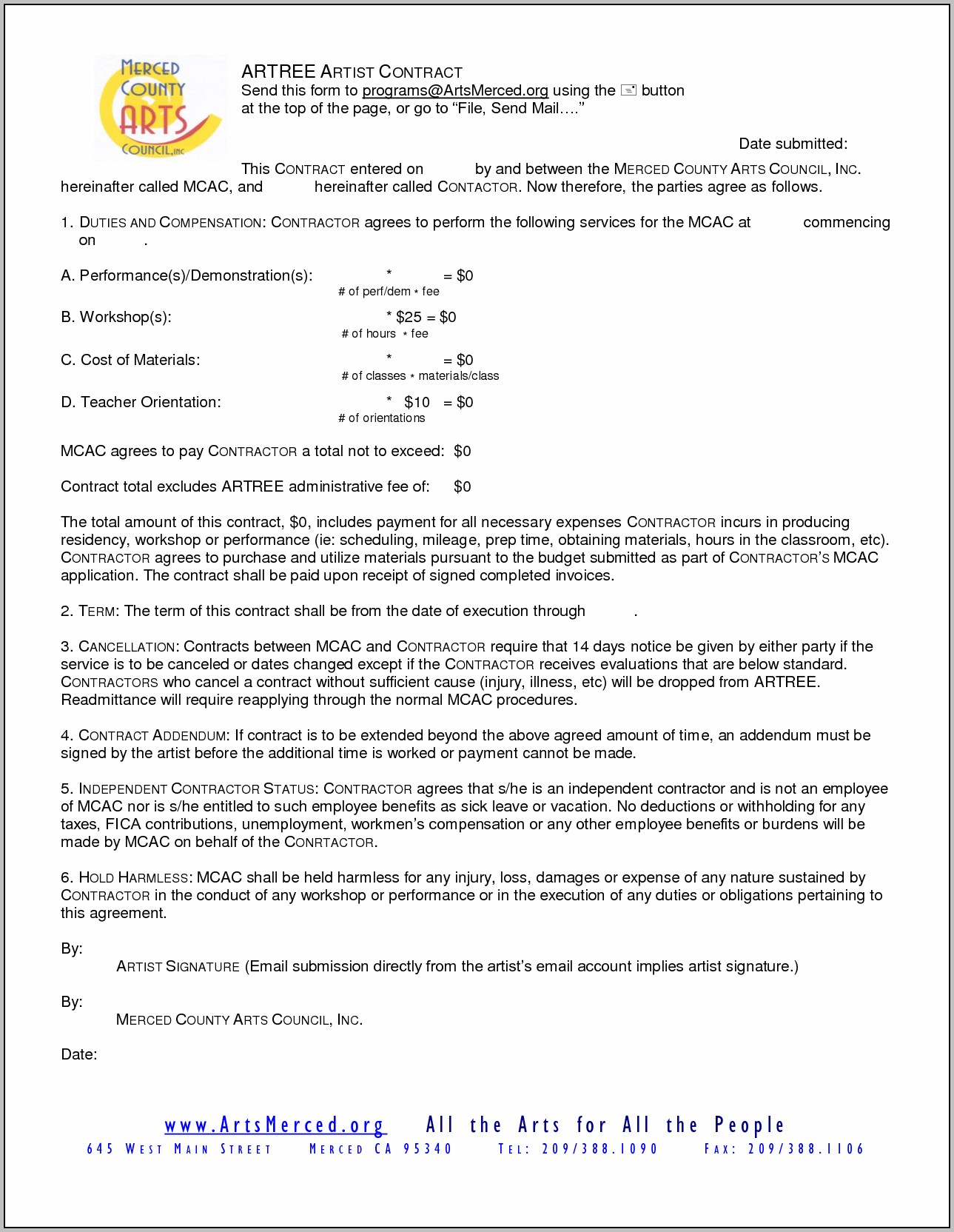 Art Gallery Contract Template