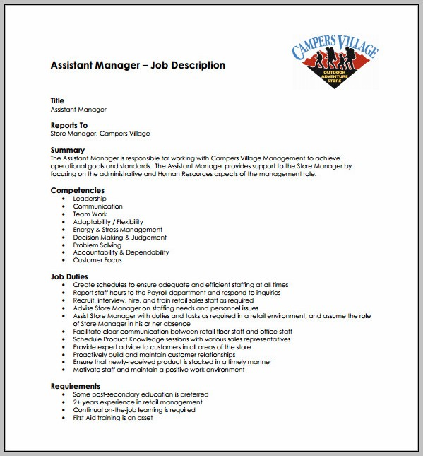 Assistant Hr Manager Job Description