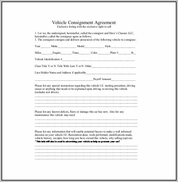 Car Consignment Contract