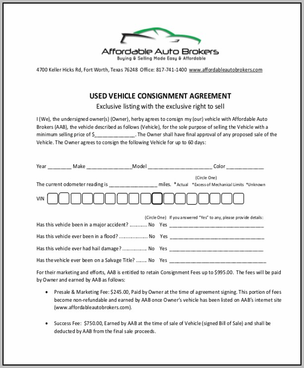 Consignment Agreement California