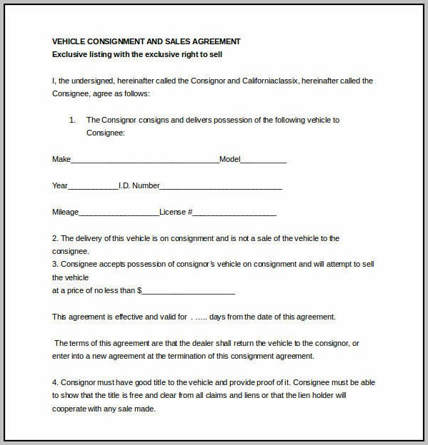Consignment Agreement Contract