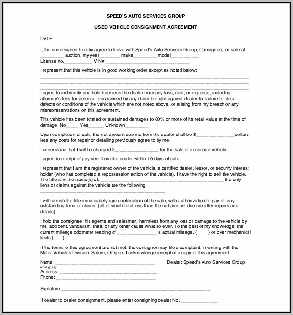 Consignment Agreement Document