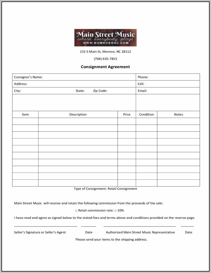Consignment Agreement Form Free Download