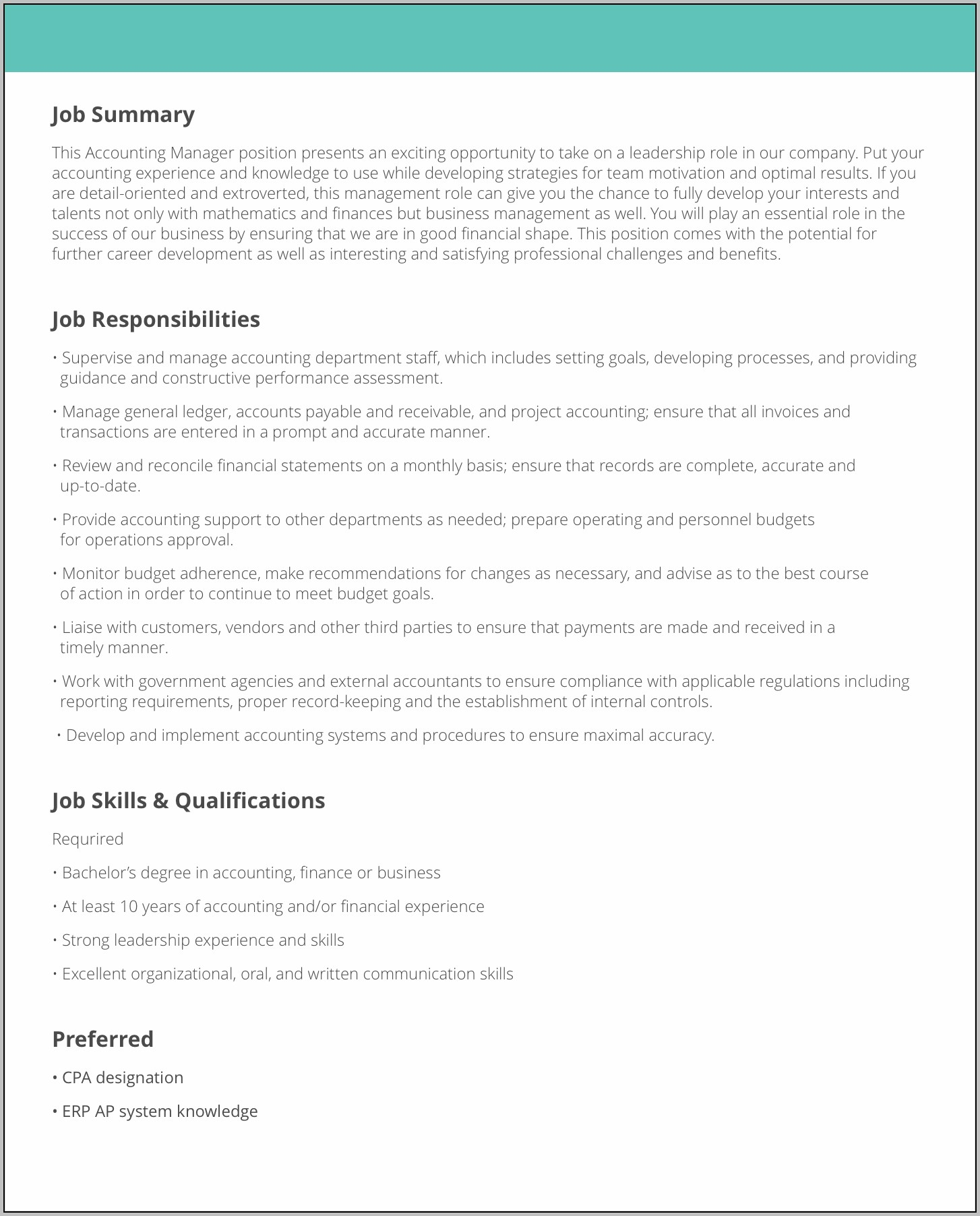 Example Of Job Description And Job Specification