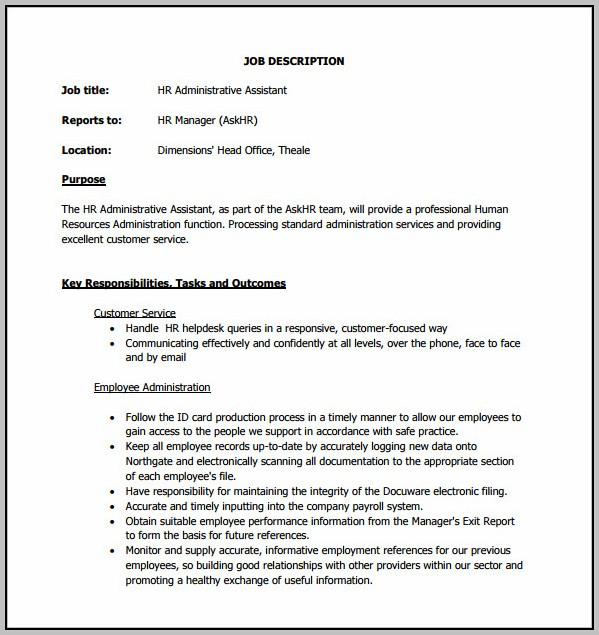 Hr Admin Assistant Job Description