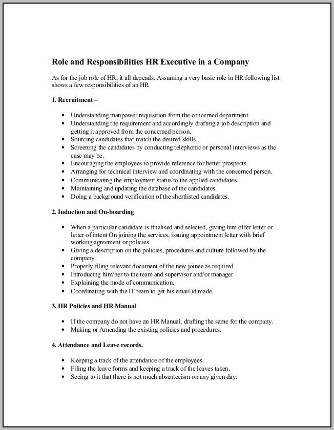Hr Admin Roles And Responsibilities