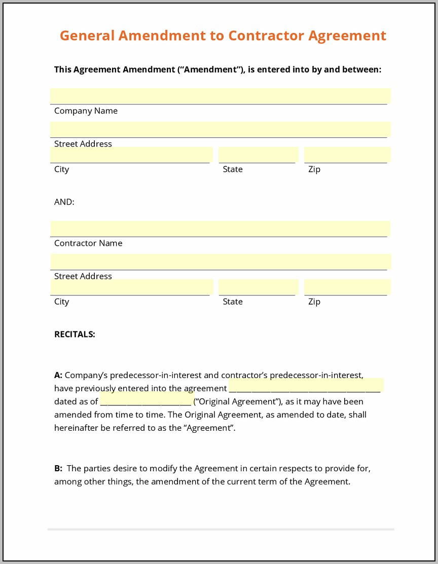 Amendment To Real Estate Contract Template