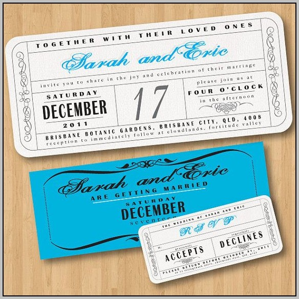 Concert Ticket Wedding Invitation Template Free