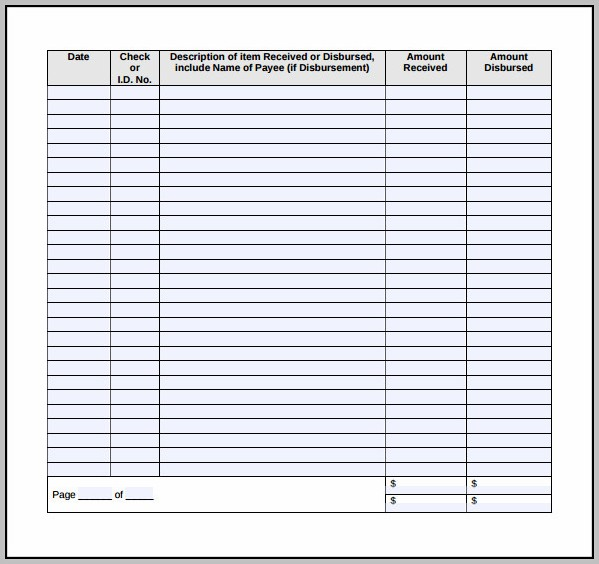 Free Blank Check Register Template