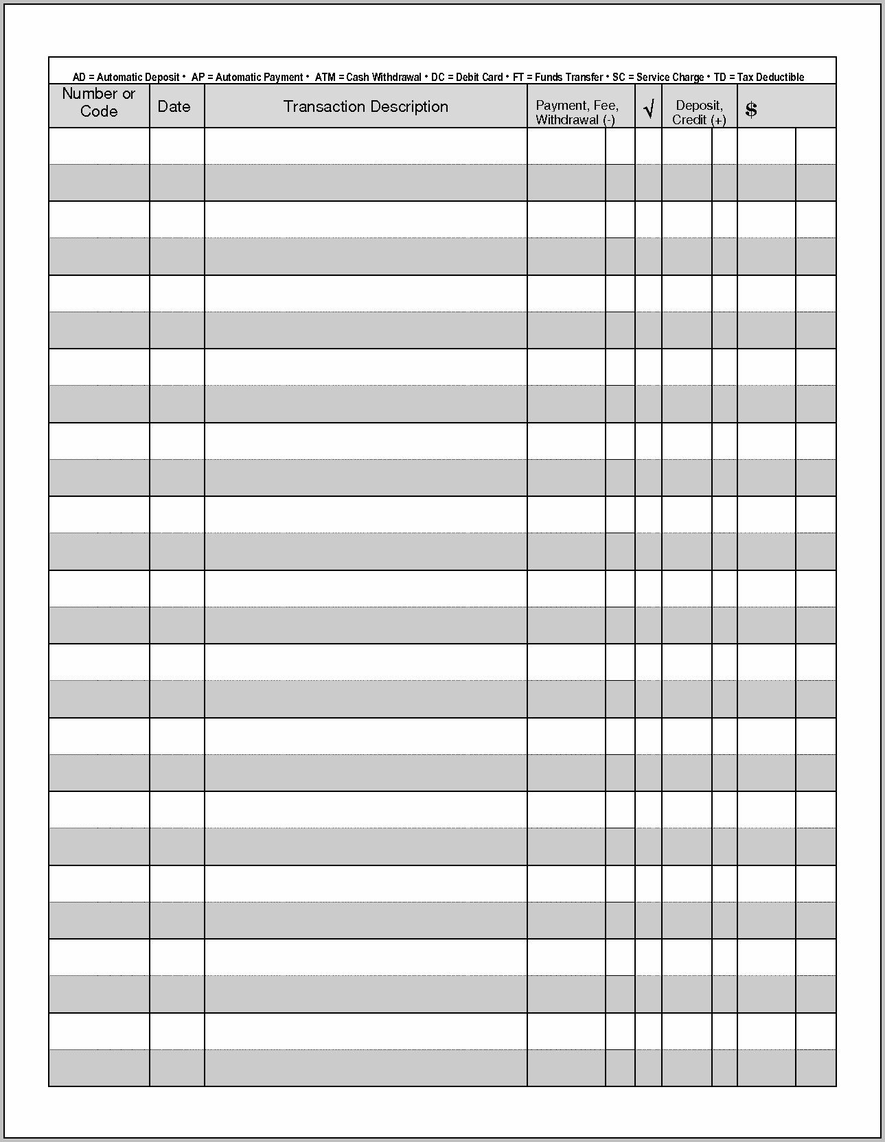 Free Checkbook Register Templates