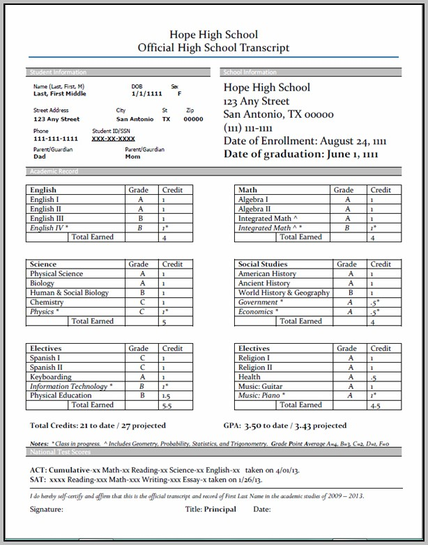 High School Transcript Template Excel