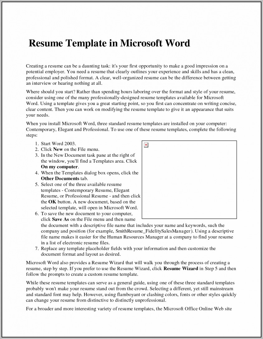 Microsoft Word Free Resume Templates 2015