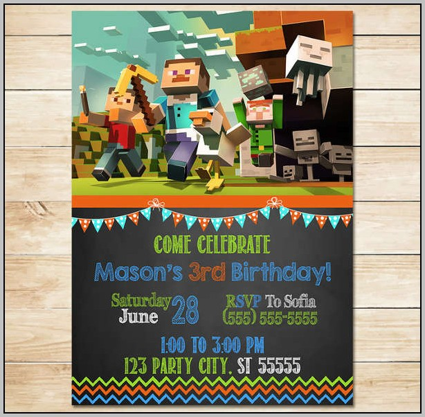 Minecraft Invitation Card Template