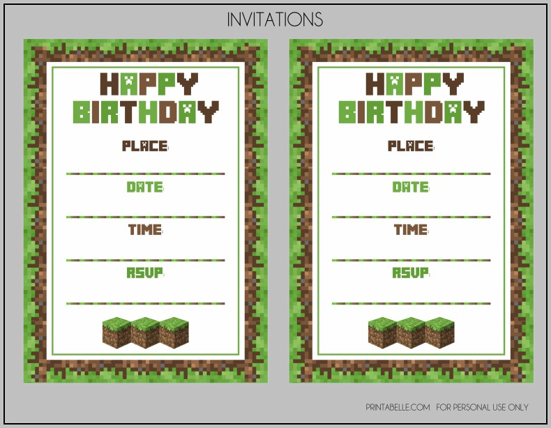 Minecraft Invitation Template Free