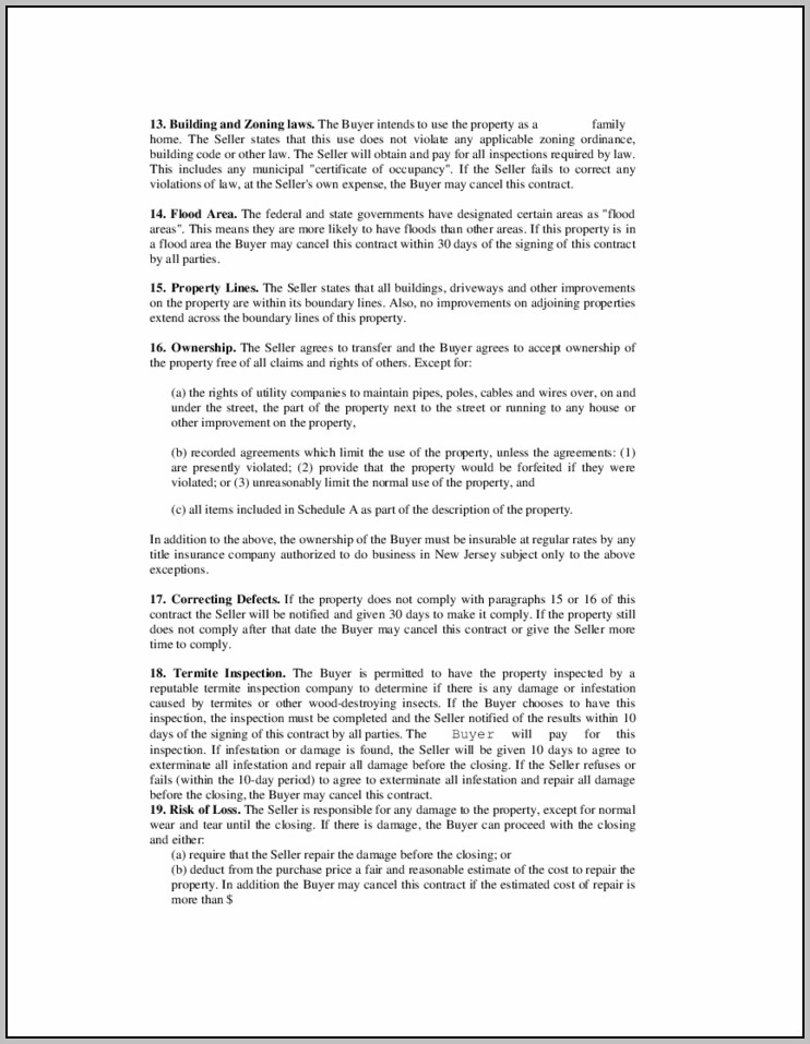 Nj Real Estate Contract Template