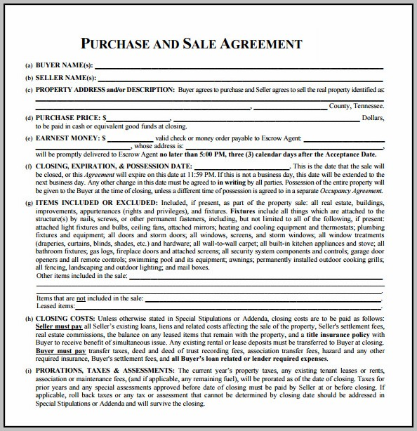 Nj Real Estate Sales Contract Template