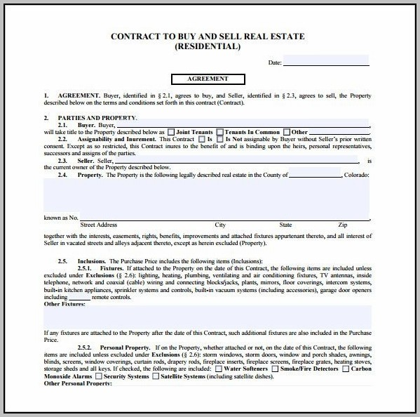 Real Estate Purchase Contract Template Free