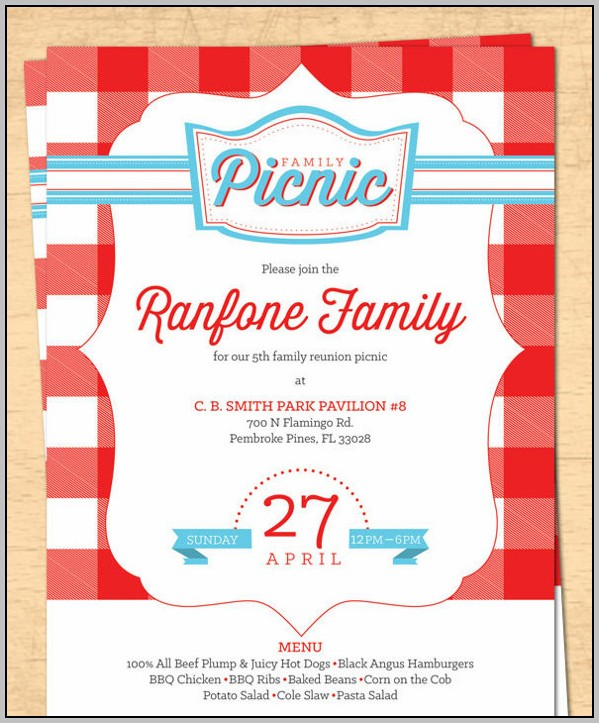 Summer Picnic Invitation Template