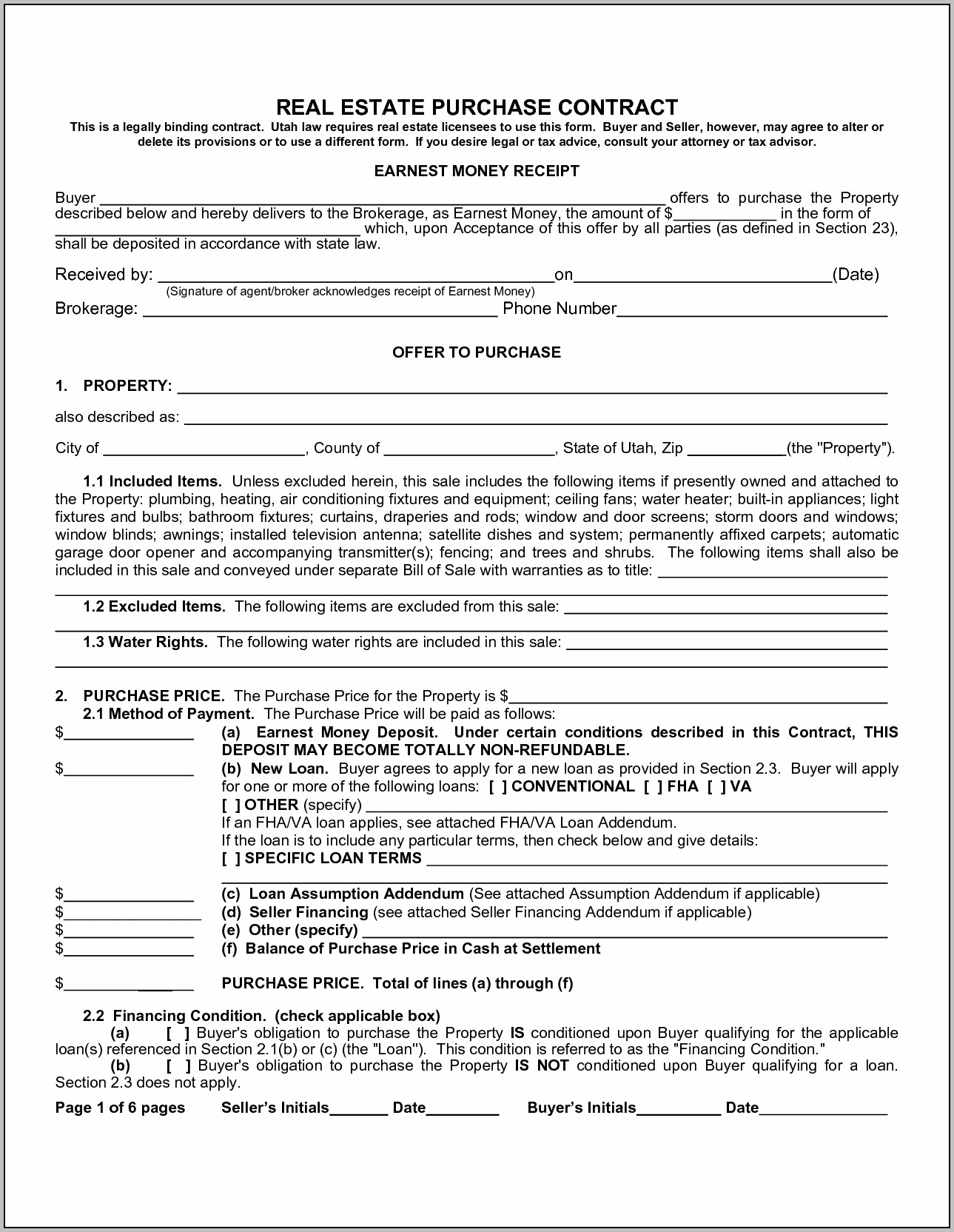 Texas Real Estate Contract Forms Free