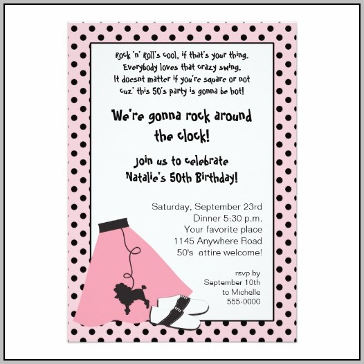 50's Party Invitation Templates Free
