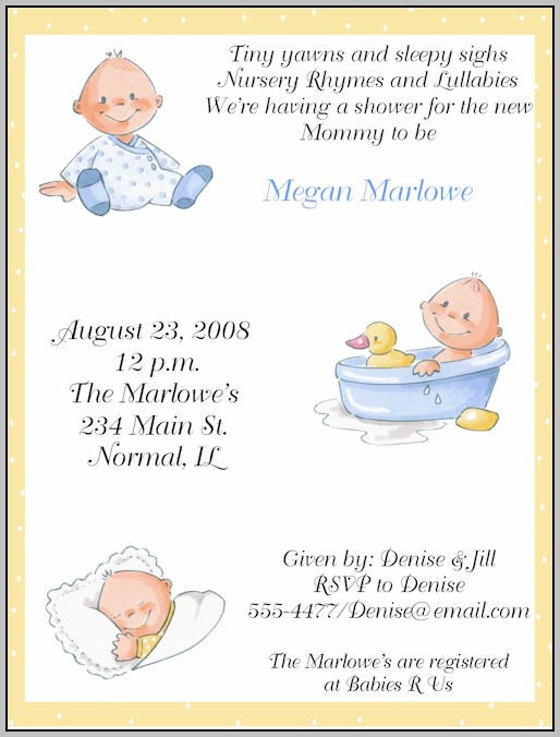 Baby Shower Invitations Samples Wording