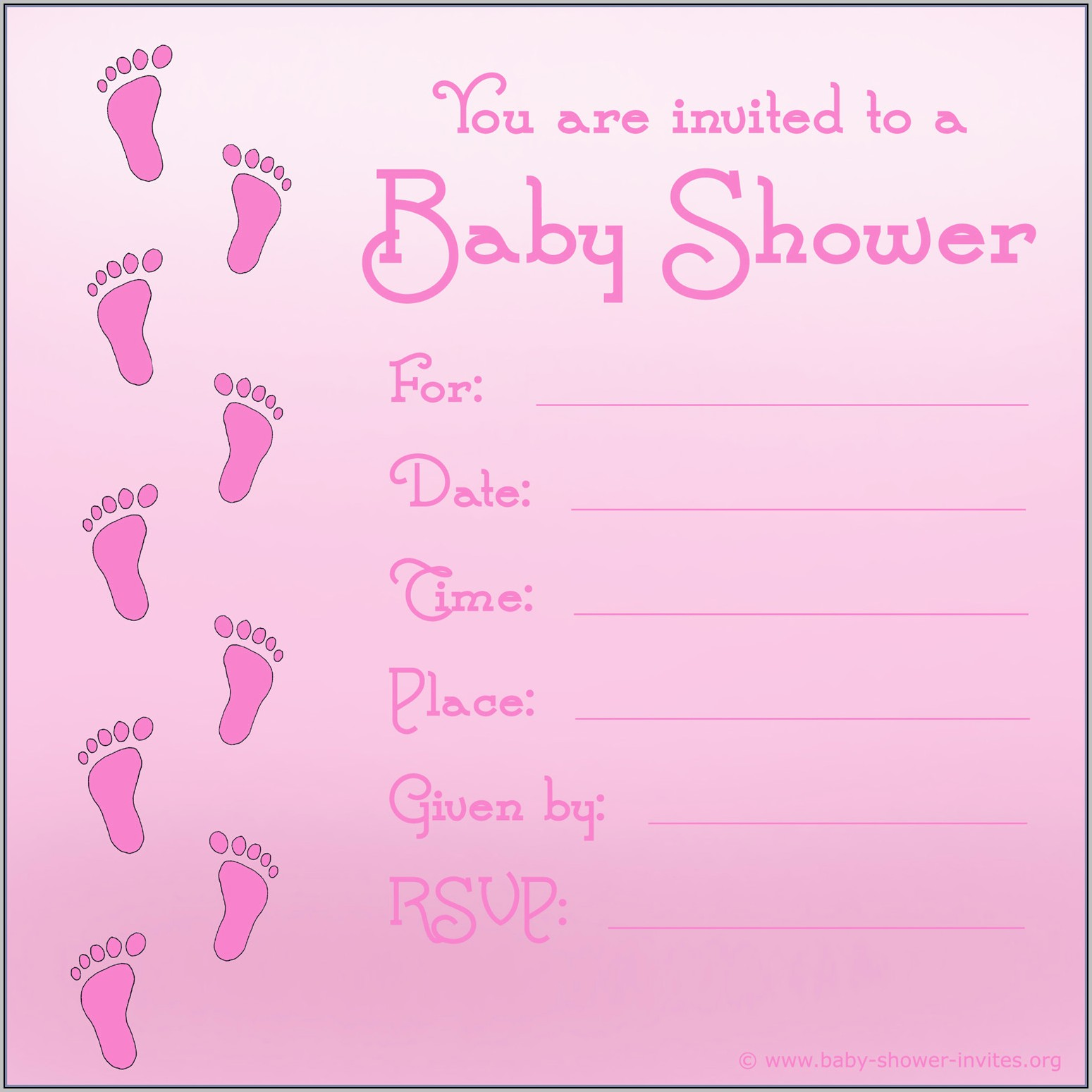 Baby Shower Invite Template Girl