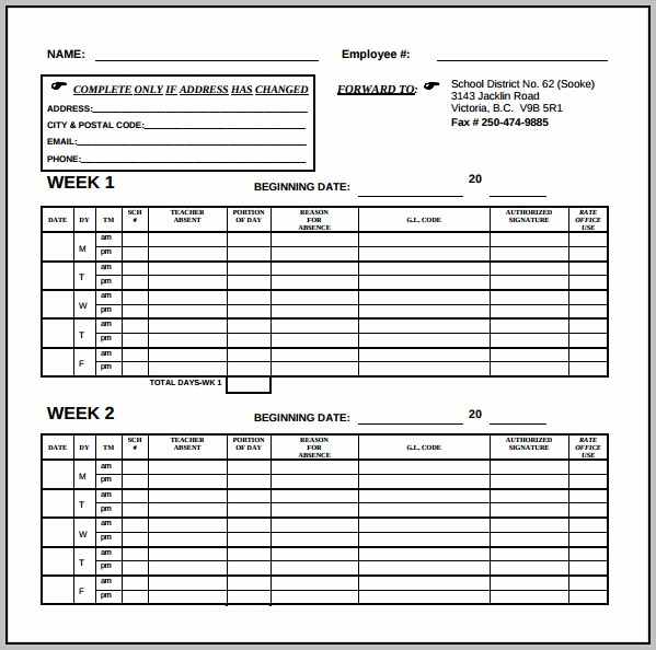 Bi Weekly Timesheet Template Pdf