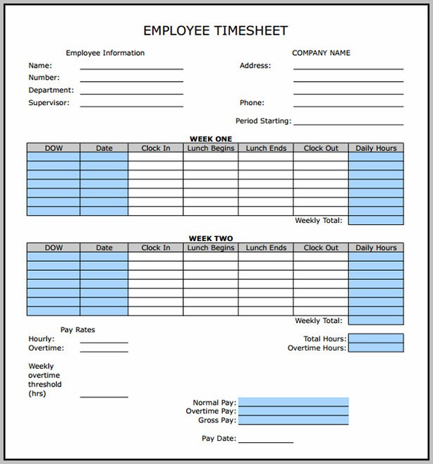 Bi Weekly Timesheet Template With Breaks