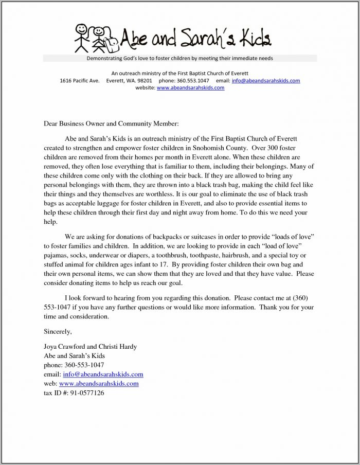 Clothing Donation Letter Template