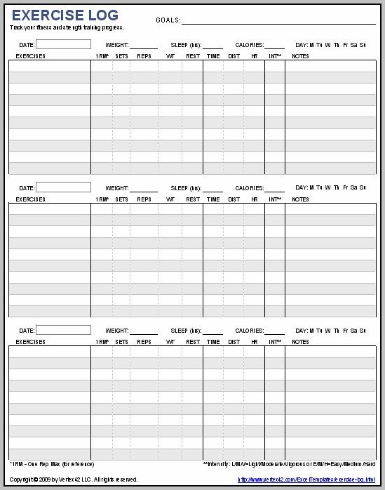 Daily Workout Journal Template