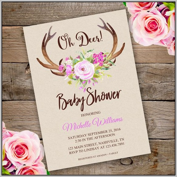 Deer Baby Shower Invitation Template