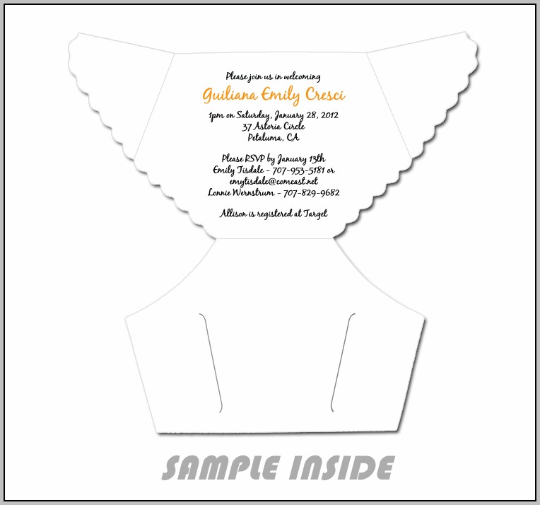 Diaper Invitation Template Printable