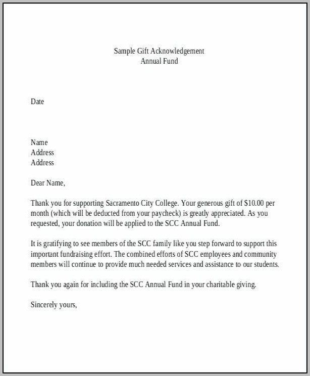 Donation Acceptance Letter Template