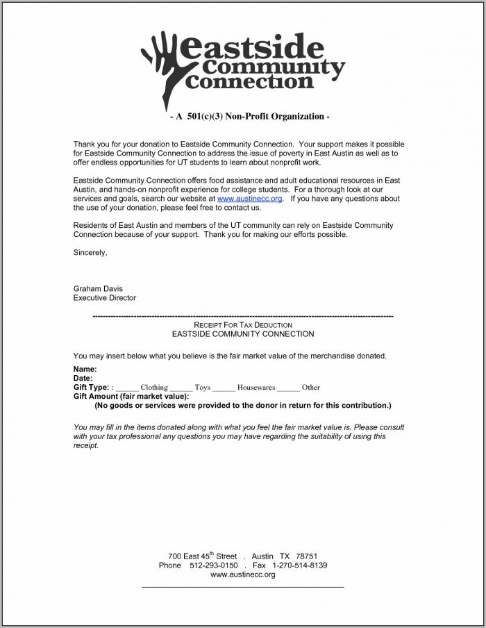 Donation Letter Template For Nonprofit