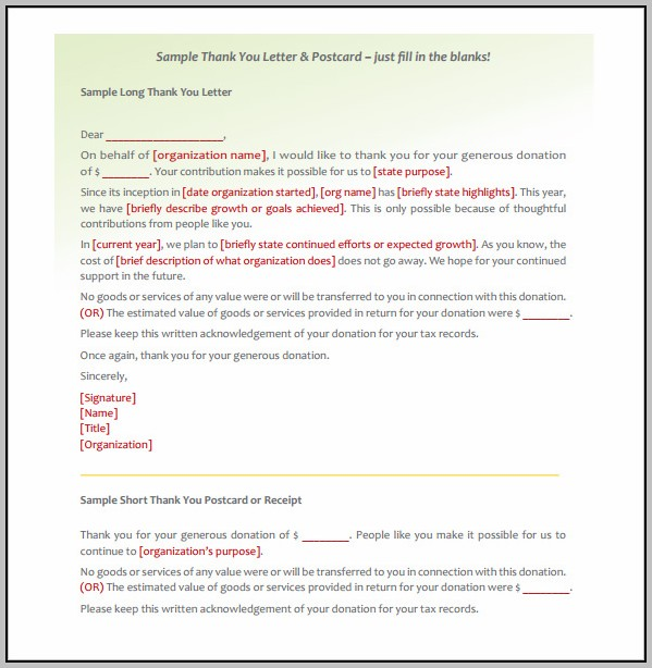 Donation Thank You Letter Template Nonprofit