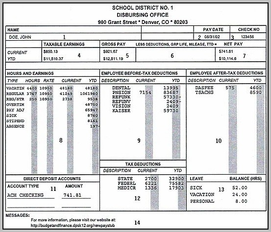 Free Adp Check Stub Template