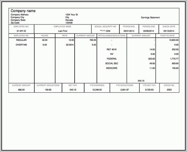 Free Pay Stub Template For Mac