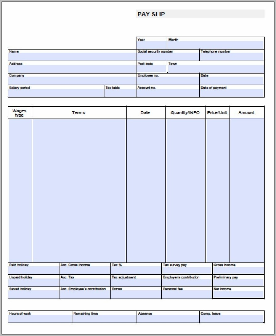 Free Pay Stub Template Word Document