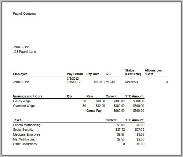 Free Paycheck Stub Template In Microsoft Word