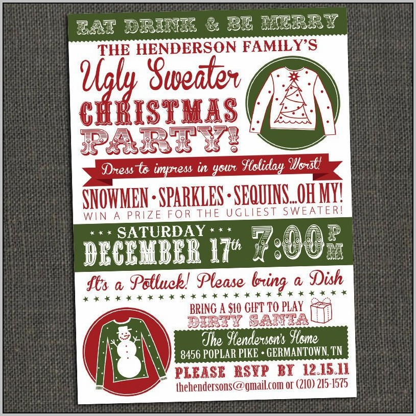 Free Ugly Sweater Party Invitation Templates