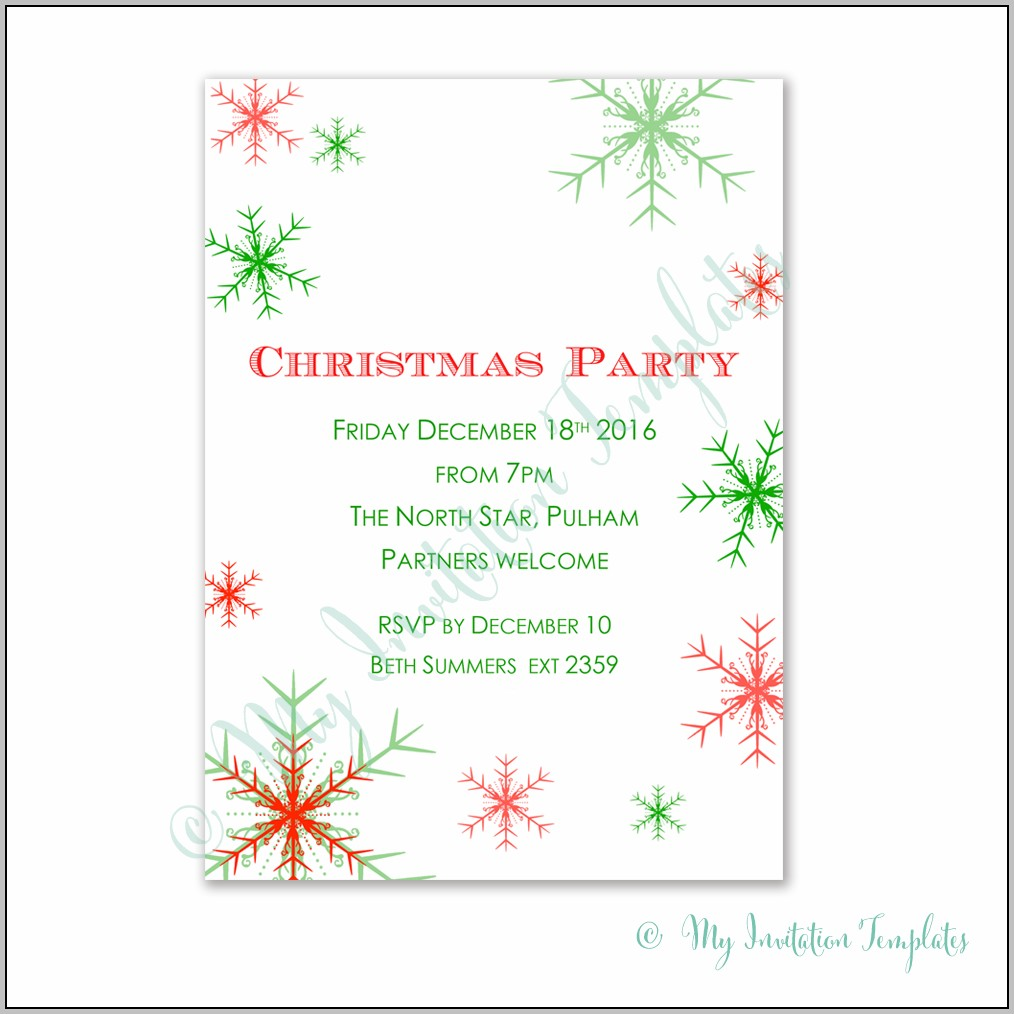Free Xmas Party Invitation Templates