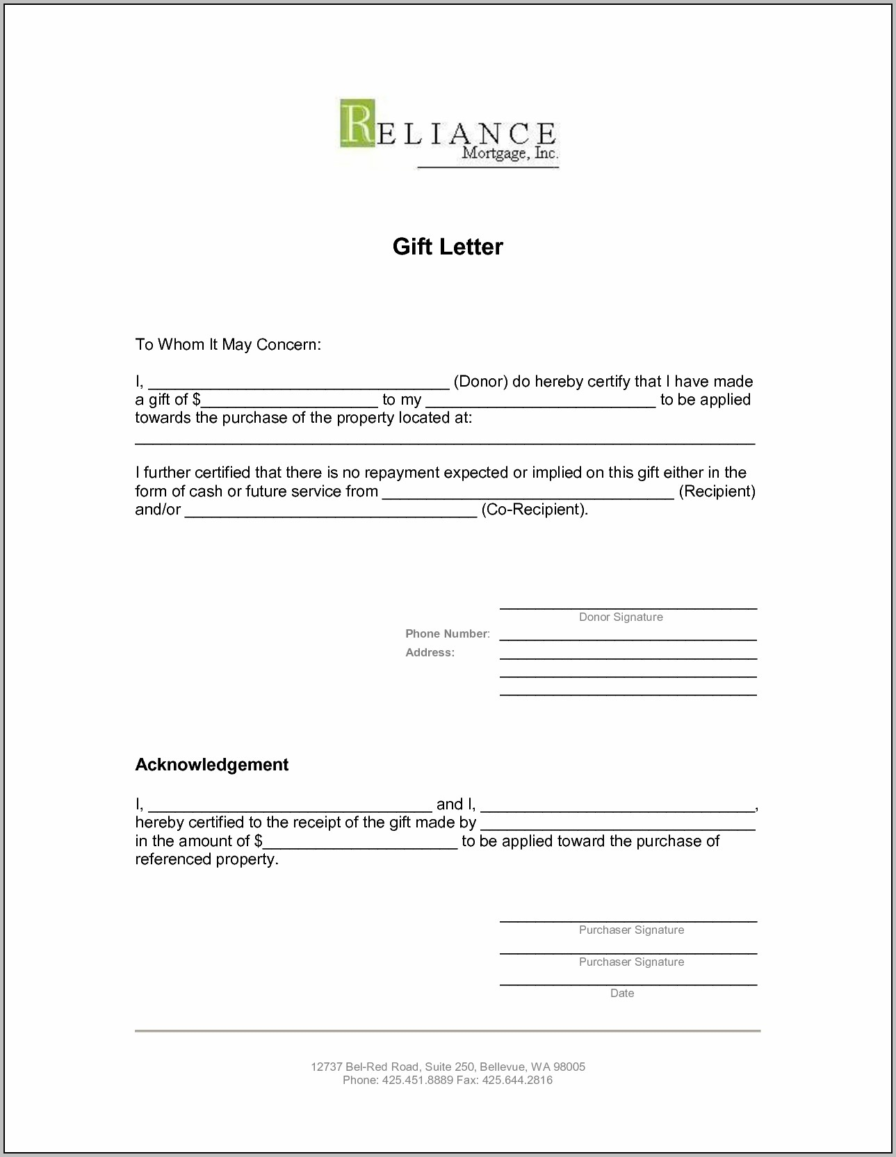 Gift Donation Letter Template