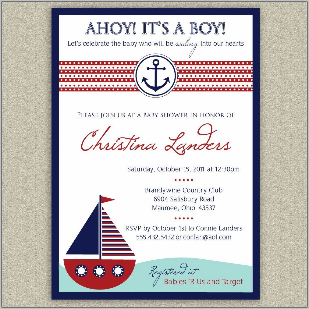 Nautical Baby Shower Invite Template
