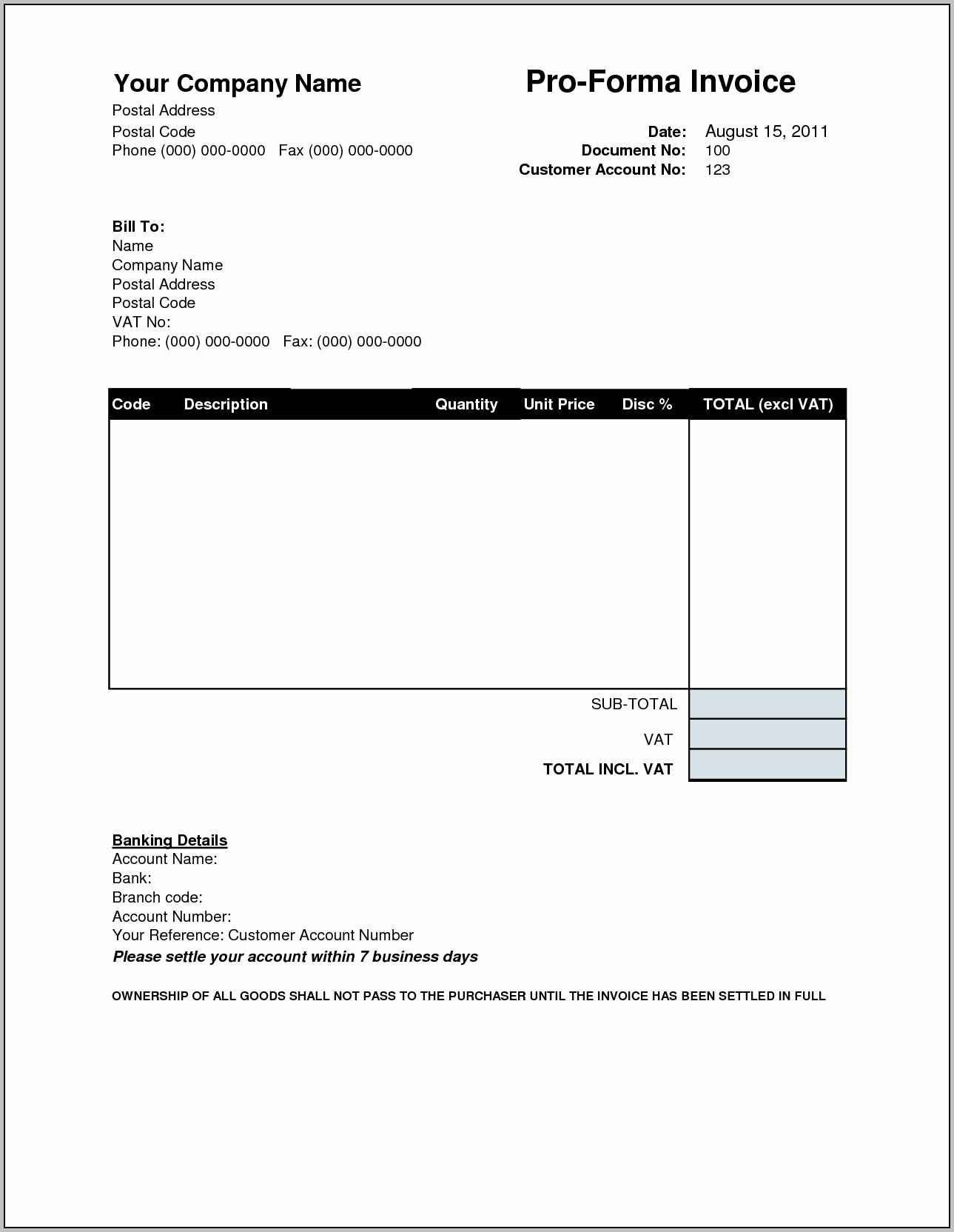 Proforma Invoice Template For Mac