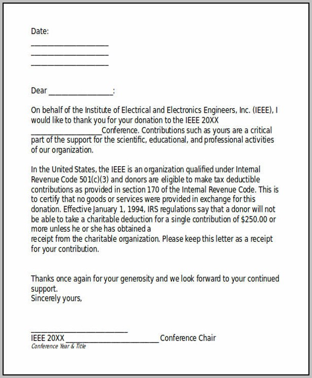 Receipt Of Donation Letter Template