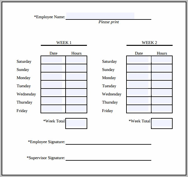 Simple Weekly Timesheet Template